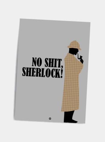 No shit sherlock sjovt citat postkort