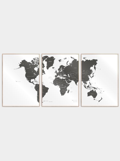verdenskort plakater delt i 3 med lande navne