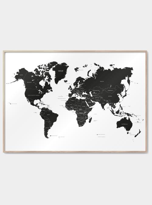 Verdenskort plakat - Med lande