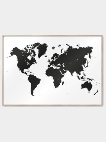 verdenskort plakater print i sort