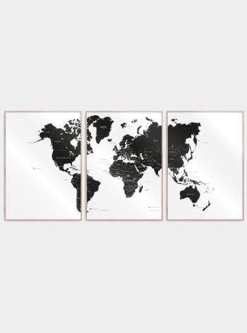 verdenskort plakater delt i 3 med lande i sort