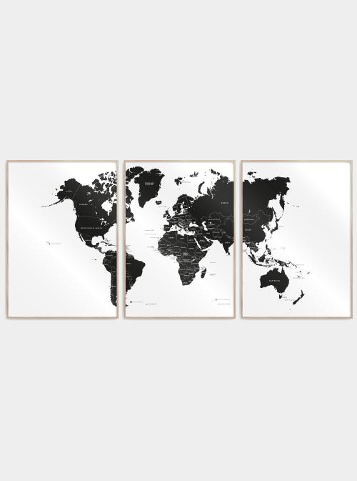 Verdenskort plakat 3 delt - Med lande