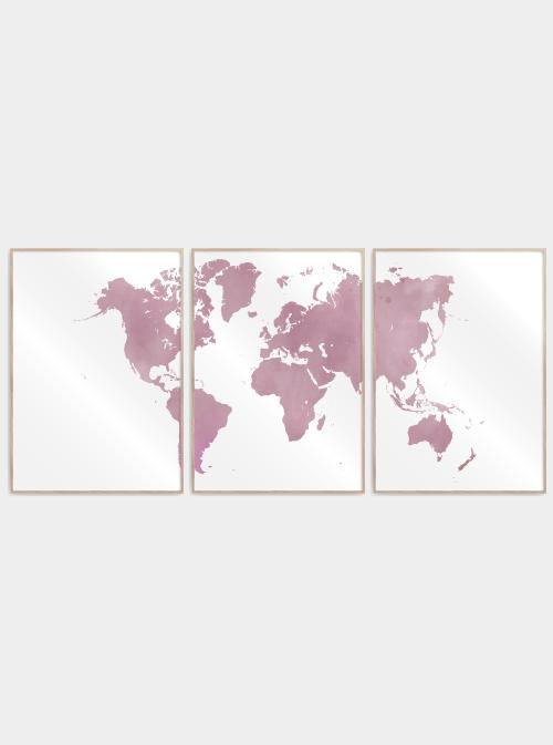 verdenskort plakater delt i 3 i lyserød