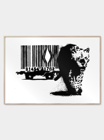street art animal with barcode