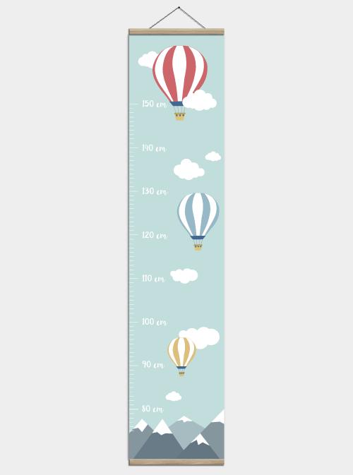 Højdemåler plakat - Luftballoner til børneværelset