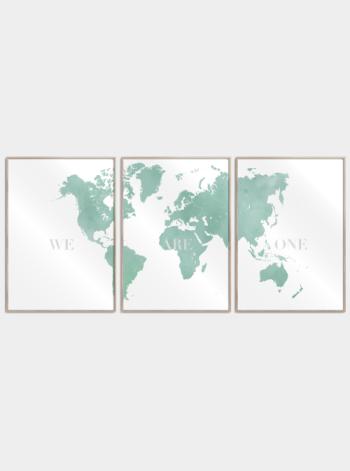 grønt verdenskort 3 delt