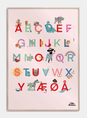 børne alfabet plakat i lyserød