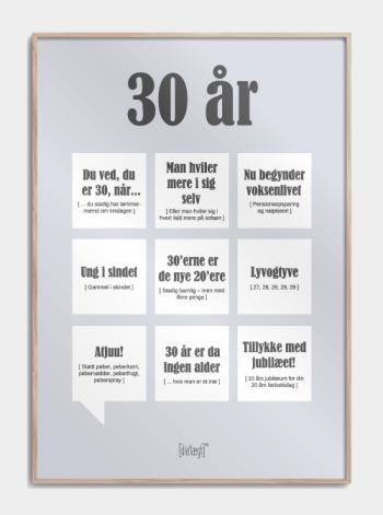 Sjov plakat til 30 års fødselaren