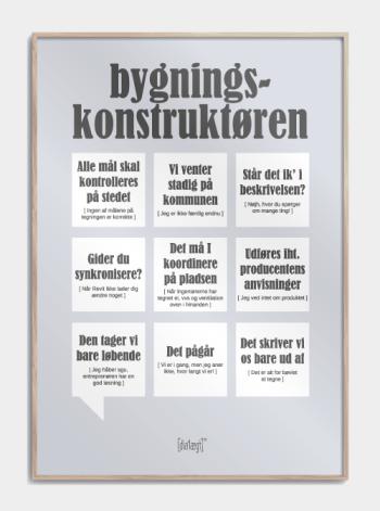 Sjov plakat om bygningskonstruktøren