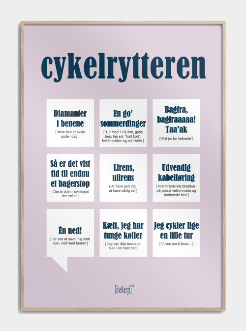 Sjov plakat om cykelrytteren
