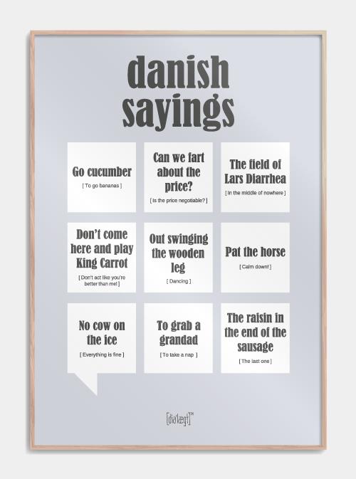 Sjov plakat med danske udtryk