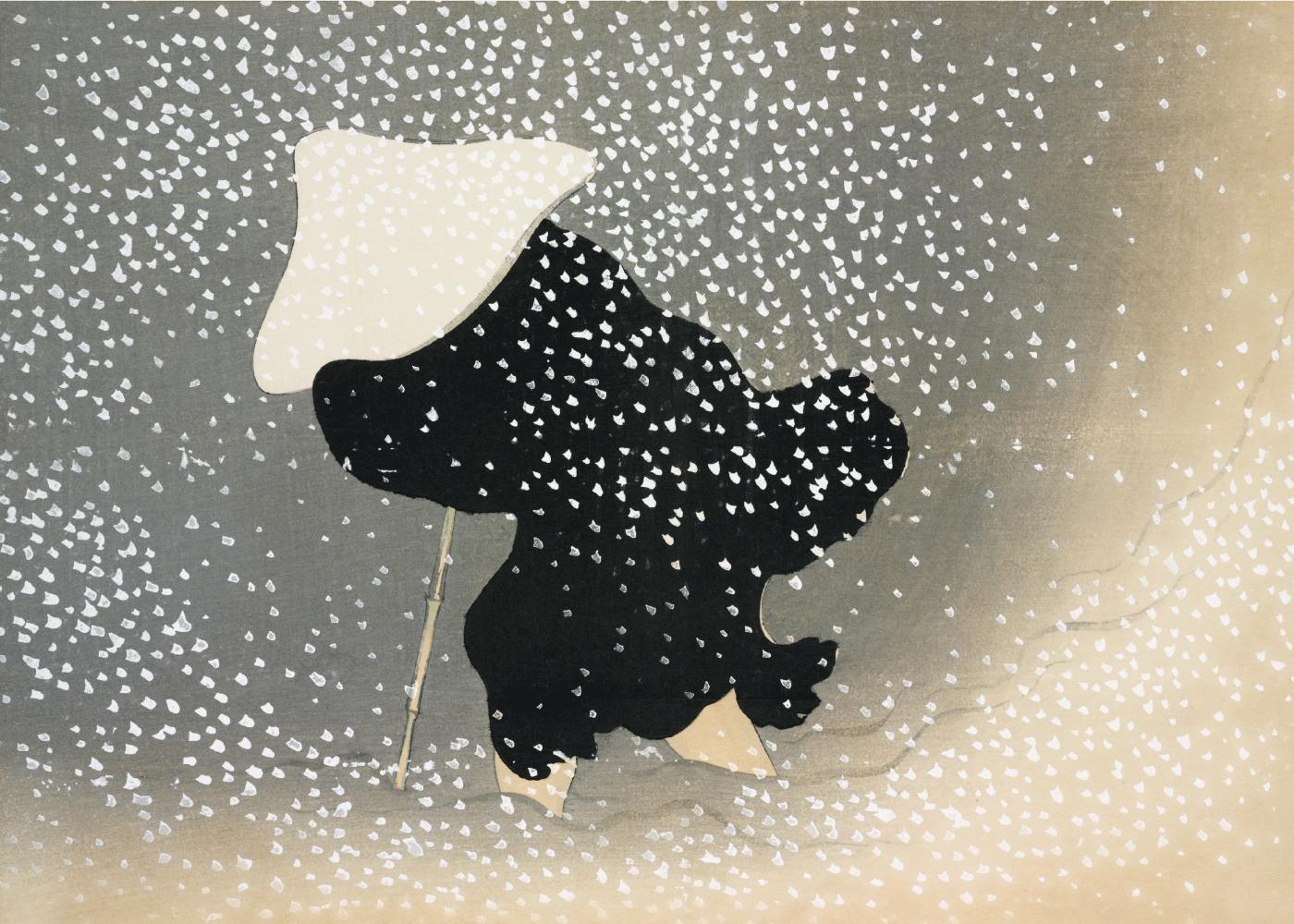 Billede af In the blizzard - Japansk kunstplakat