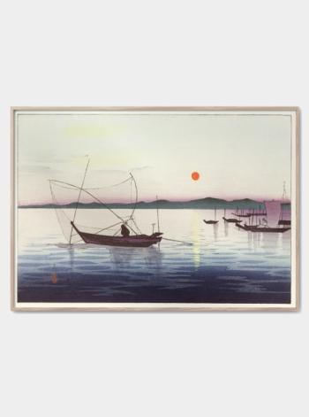 japansk portræt af havn og fisker både