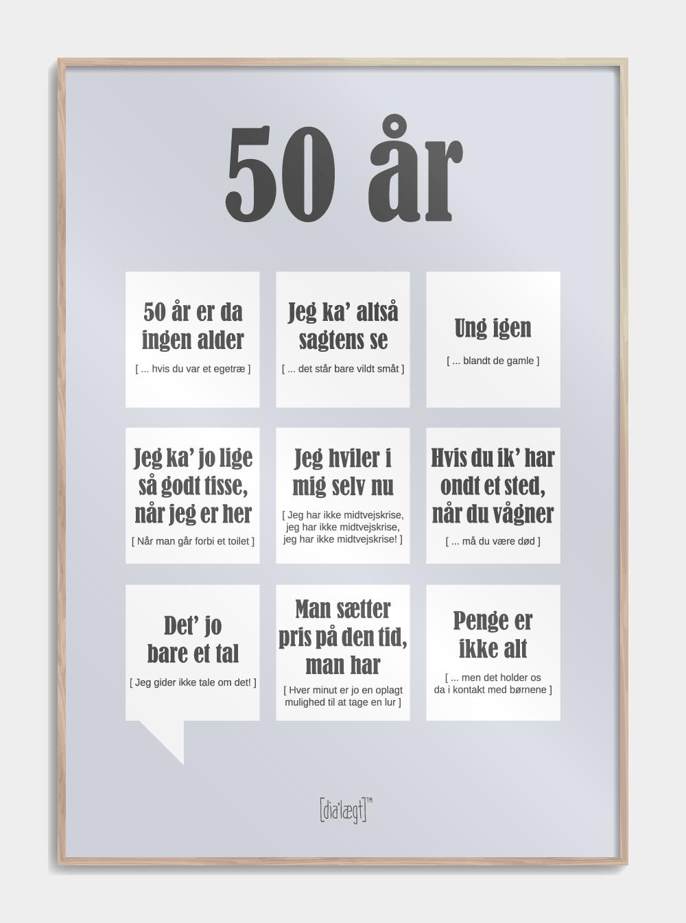 50 år plakat - Sjov og anderledes gave til en ven eller