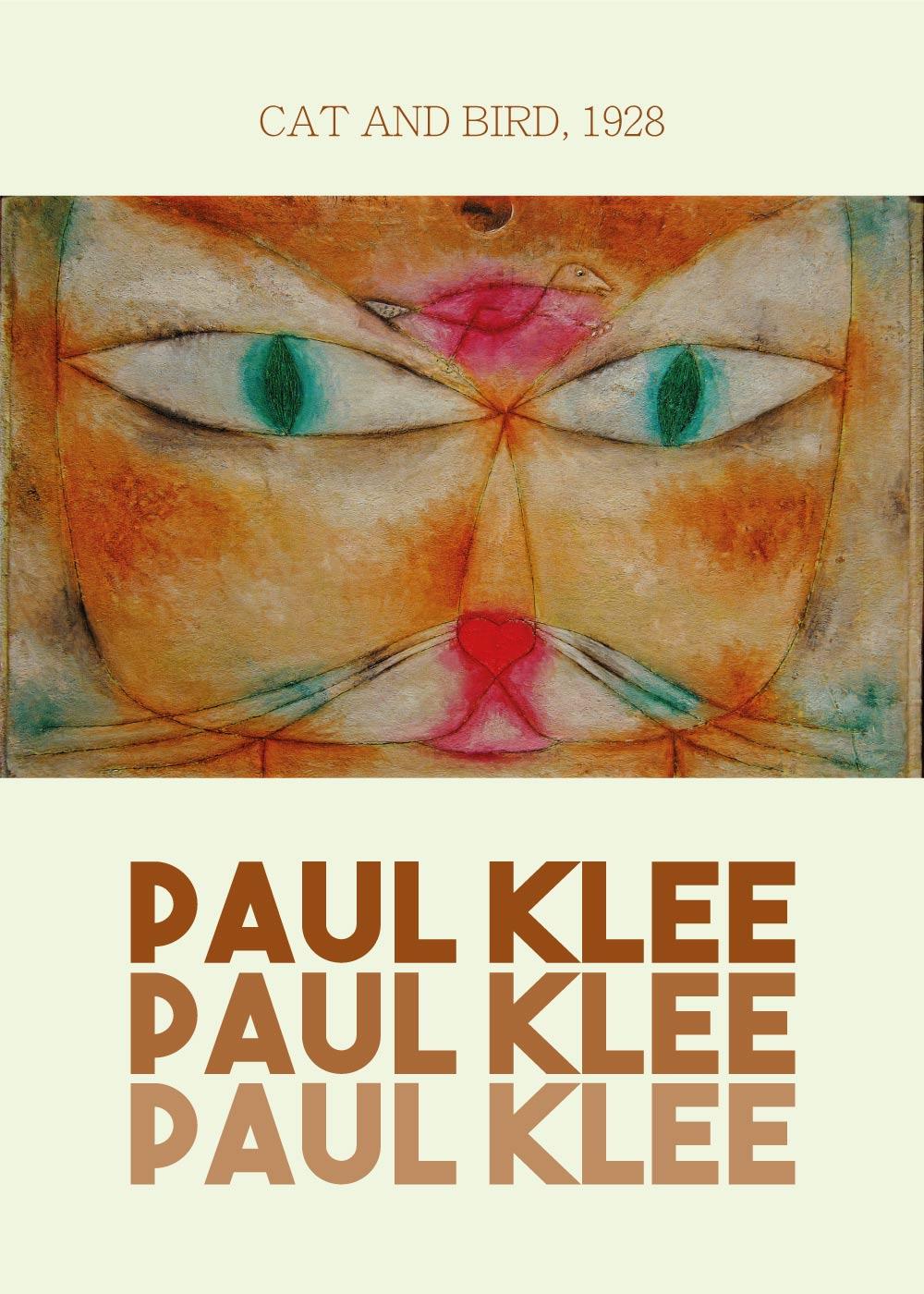 Billede af Cat and bird - Paul Klee Kunstplakat