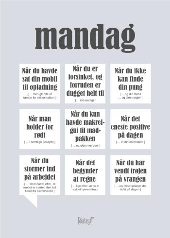 Plakat med sjove citater om mandage