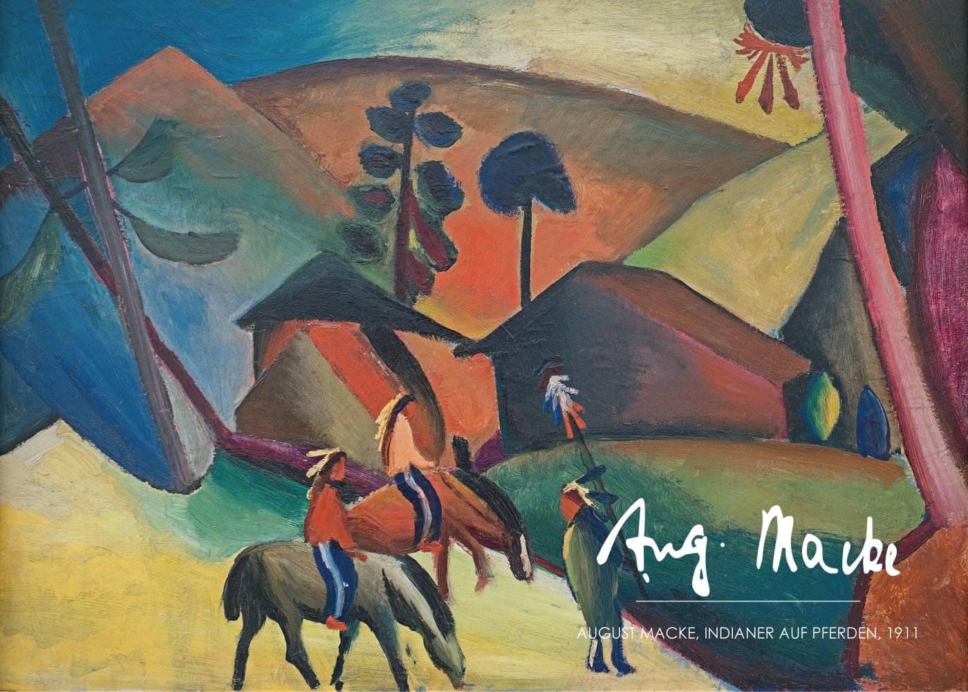 Billede af Indianer auf pferden - August Macke