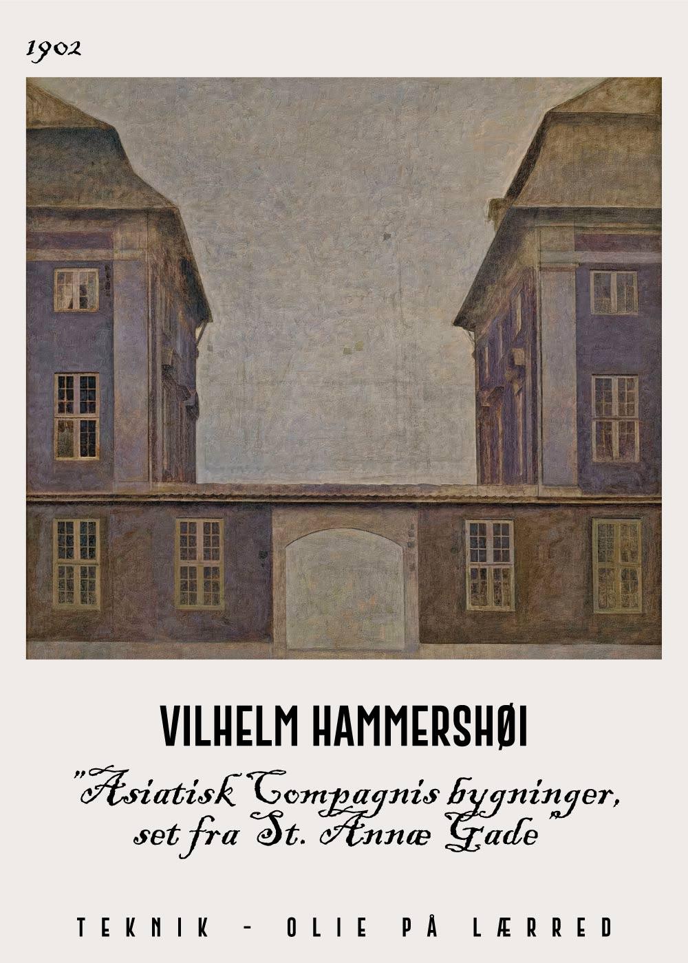Billede af Asiatisk compagnis bygninger - Vilhelm Hammershøi Kunstplakat