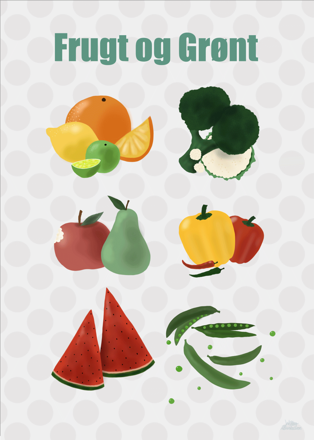 Frugt og grønt - Børneplakat