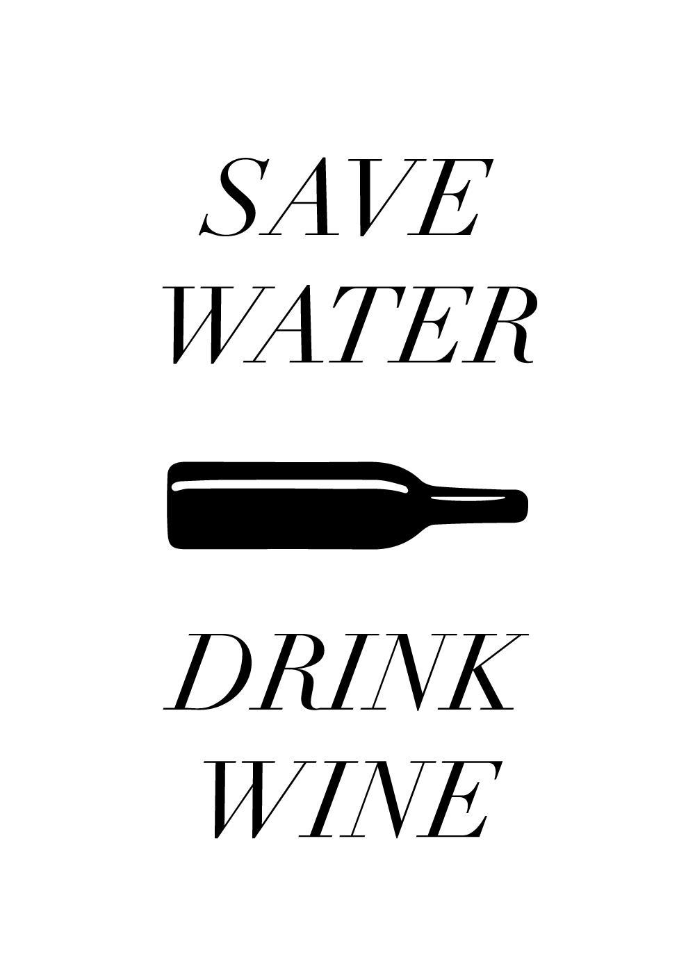 Billede af Drink wine - Vin plakat