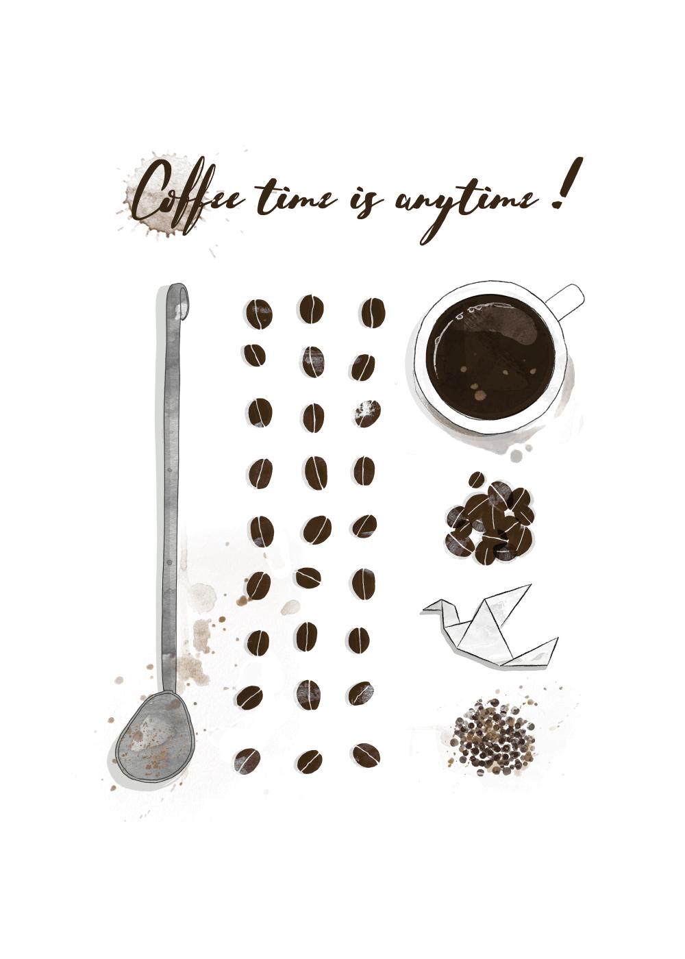 Billede af Kaffe plakat - Coffee time is anytime