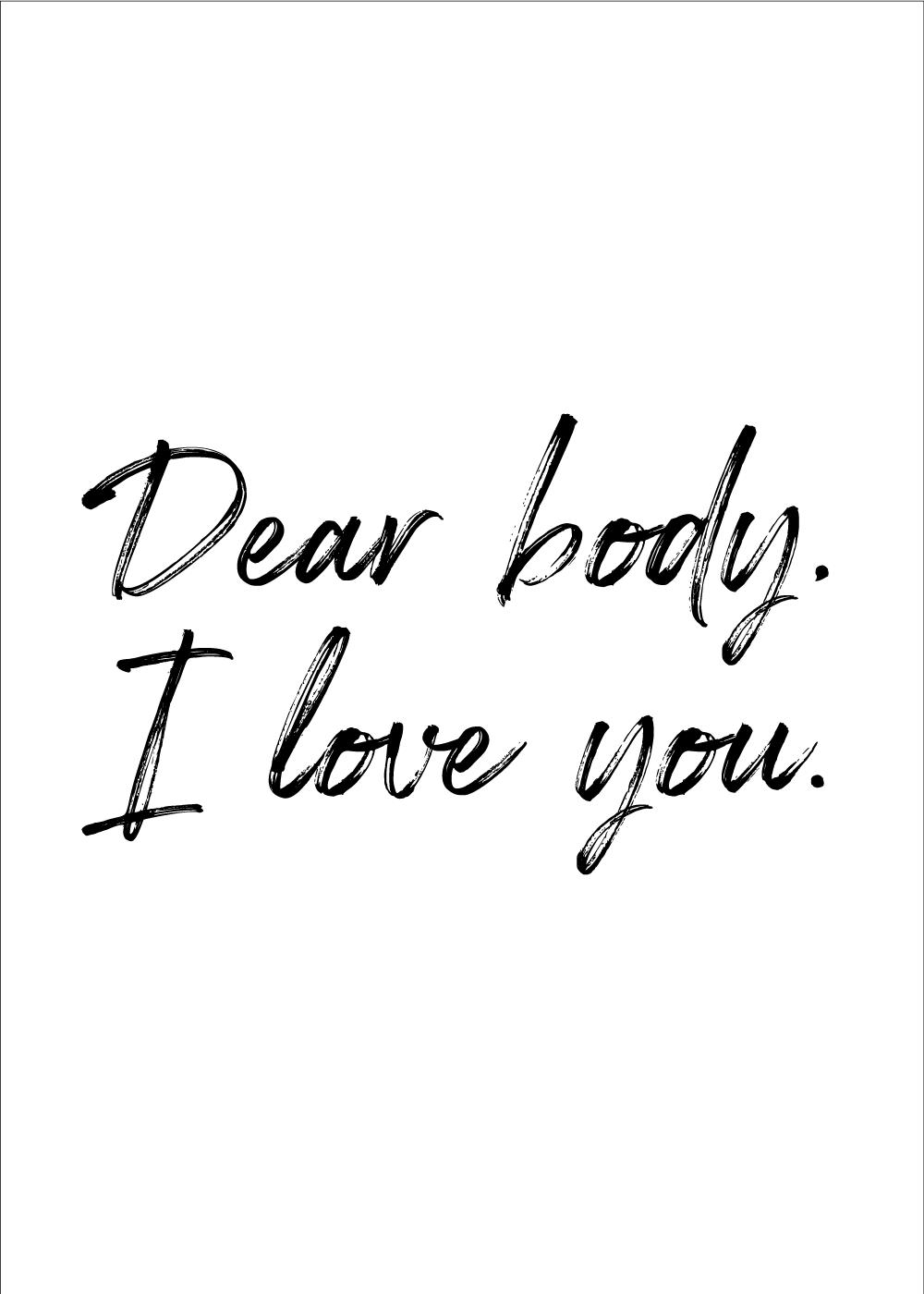 Billede af Dear body - Body positivity plakat