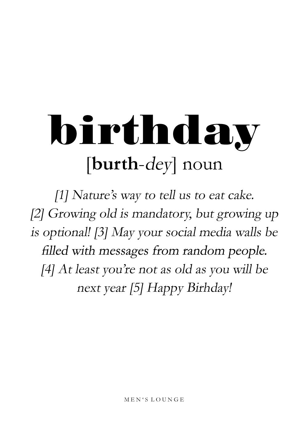 Billede af Birthday definition - Men's Lounge plakat