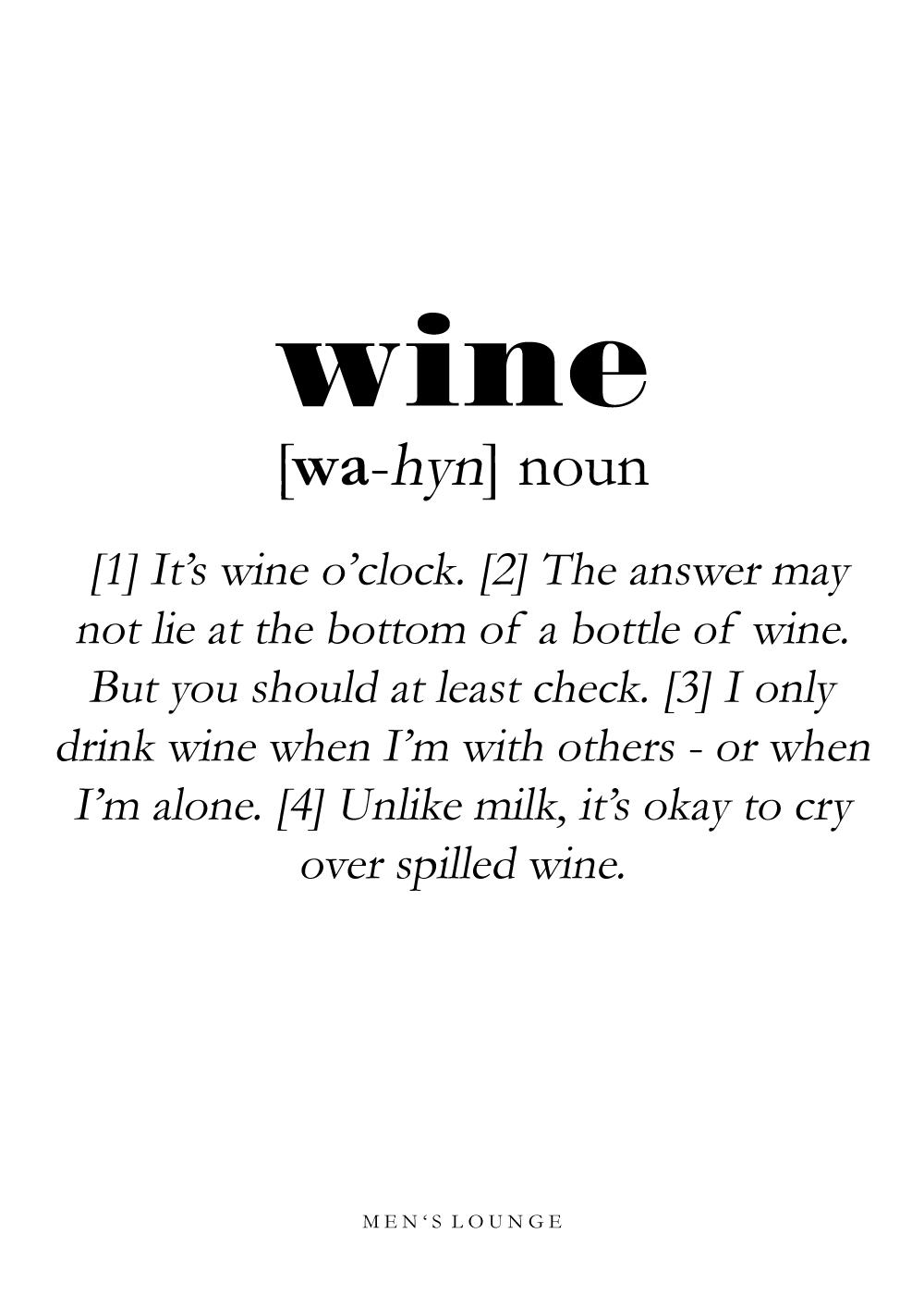 Billede af Wine definition - Men's Lounge plakat