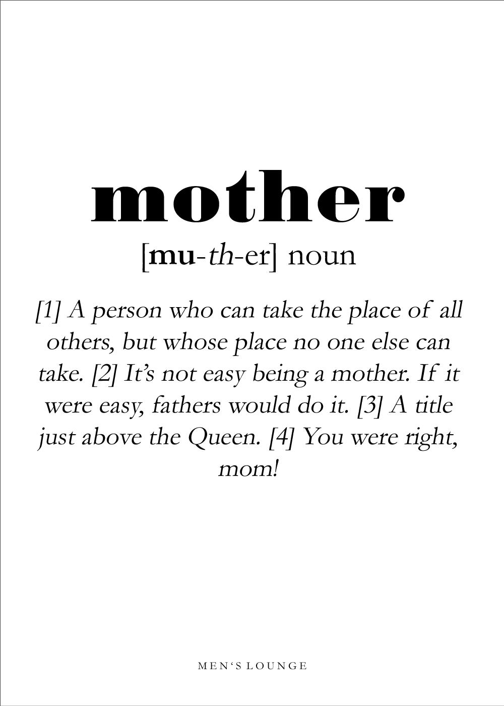 Billede af Mother definition - Men's Lounge plakat