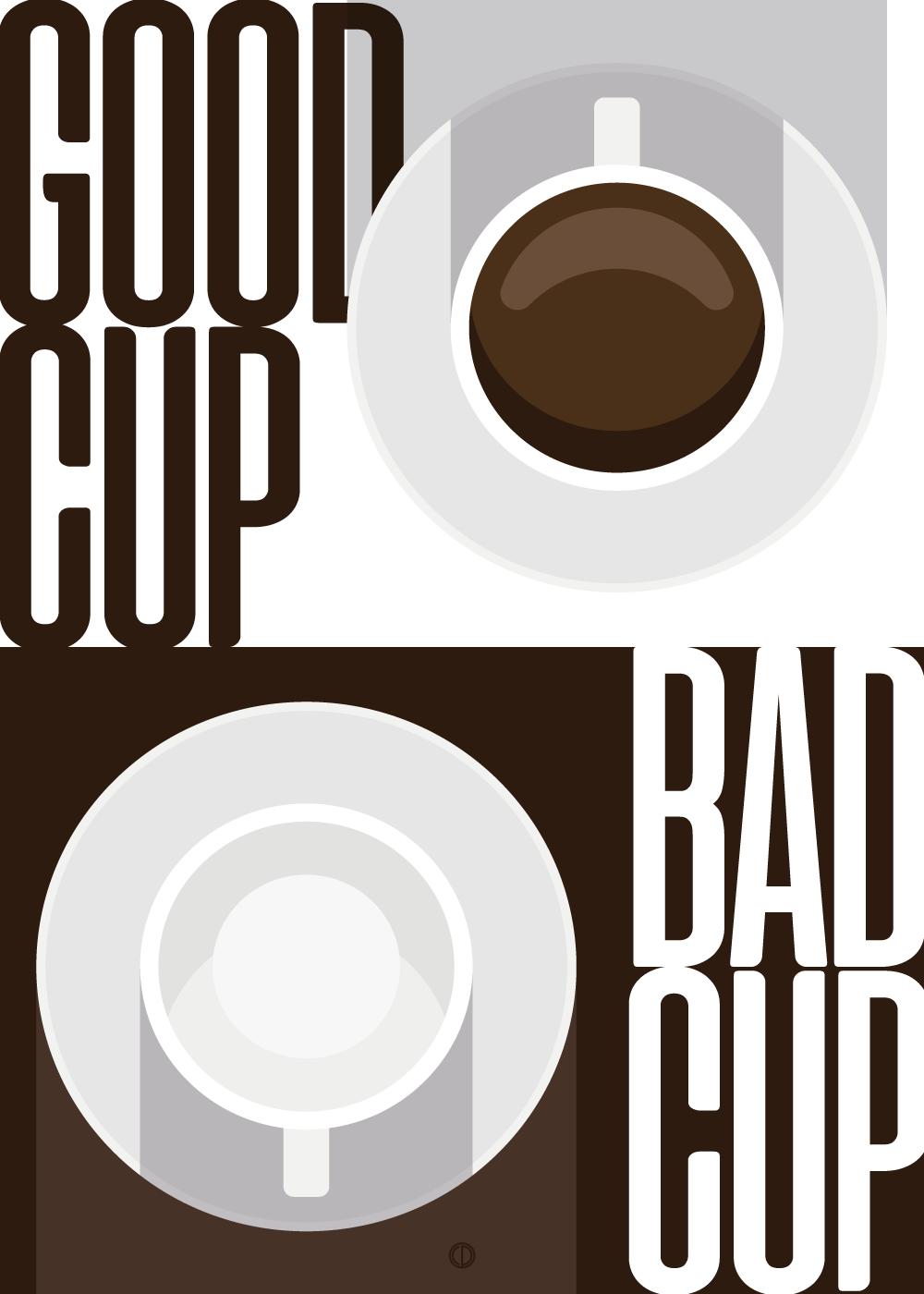 Good cup bad cup - Kaffe plakat