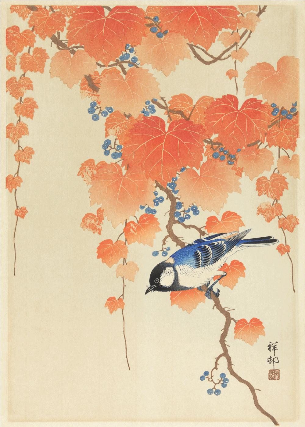 Billede af Blue bird - Japansk kunstplakat