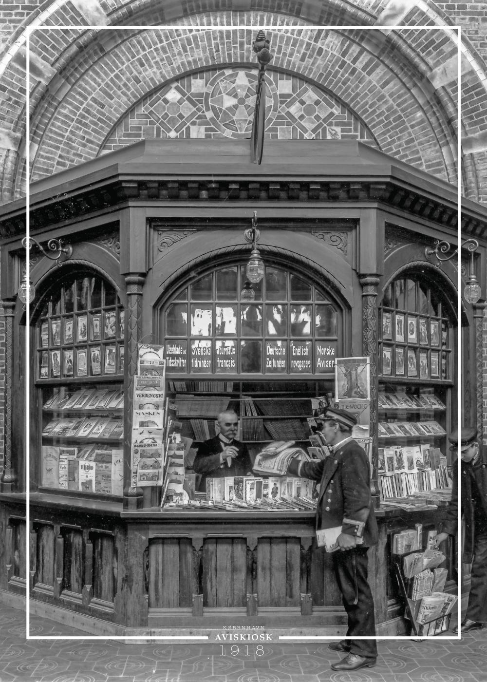 Kiosk på Hovedbanegården - Gamle billeder af København plakat