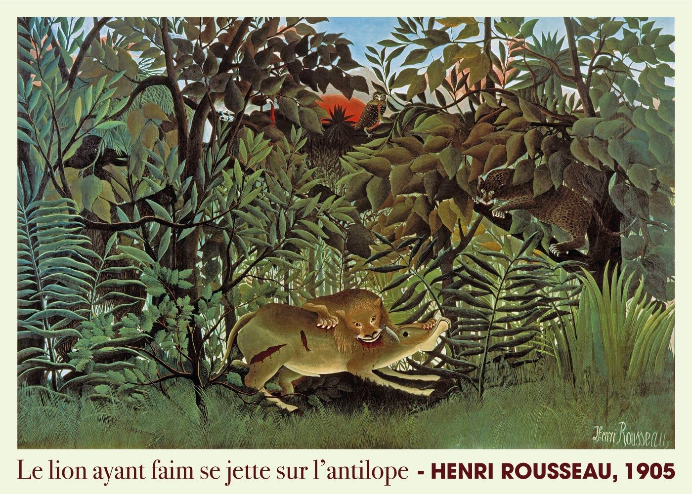 Billede af Le lion ayant faim se jette sur l'antilope - Henri Rousseau