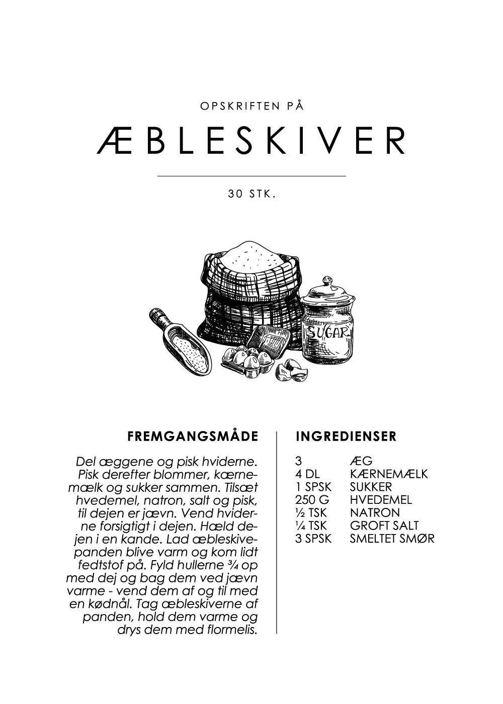 Billede af Æbleskiver opskrift - Kage guide plakat