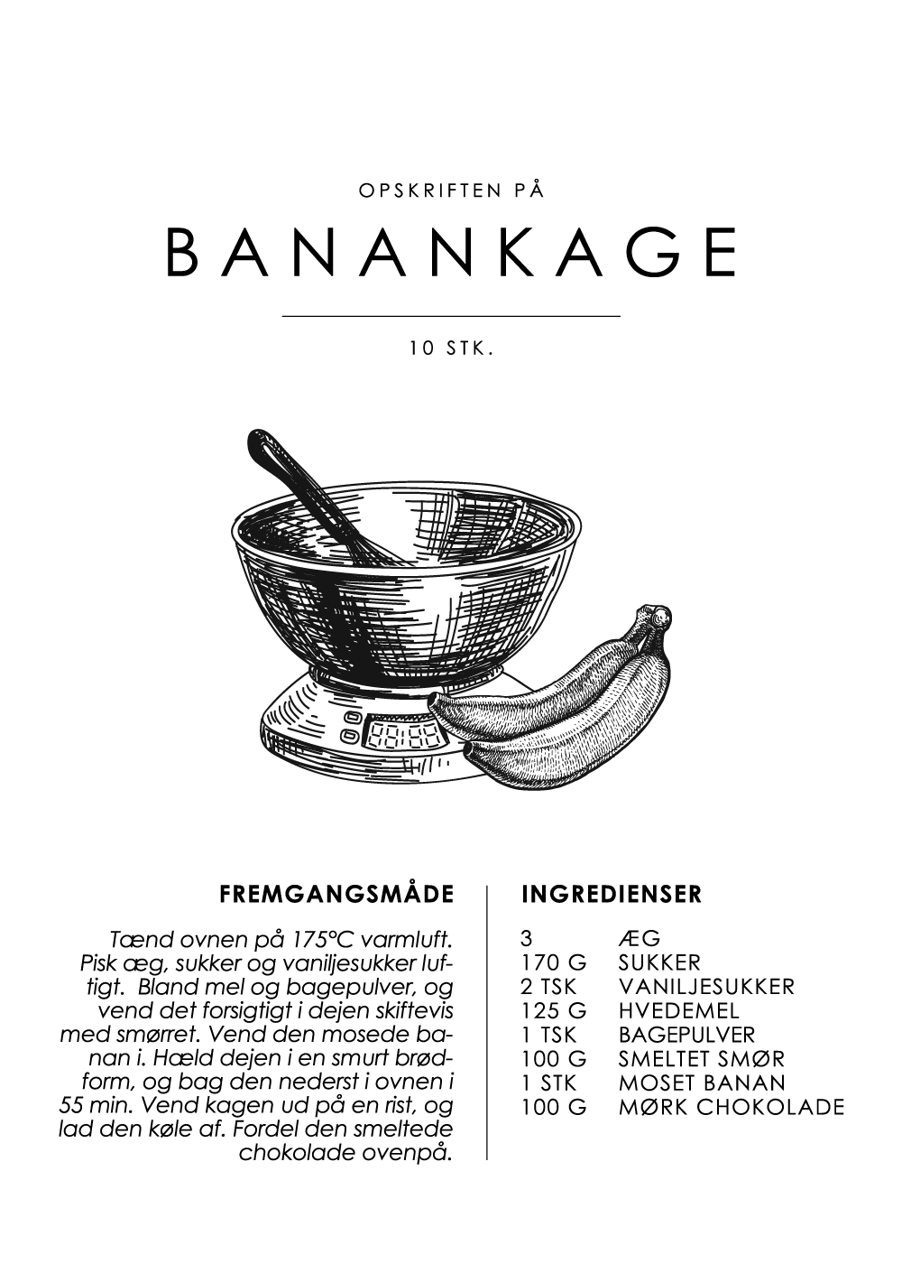 Billede af Banankage opskrift - Kage guide plakat