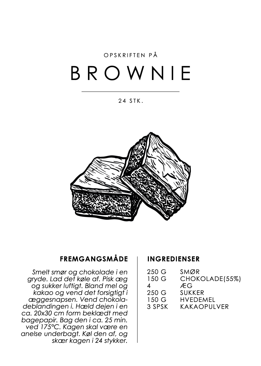 Billede af Brownie opskrift - Kage guide plakat