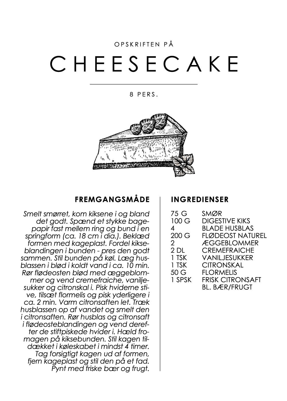Billede af Chessecake opskrift - Kage guide plakat
