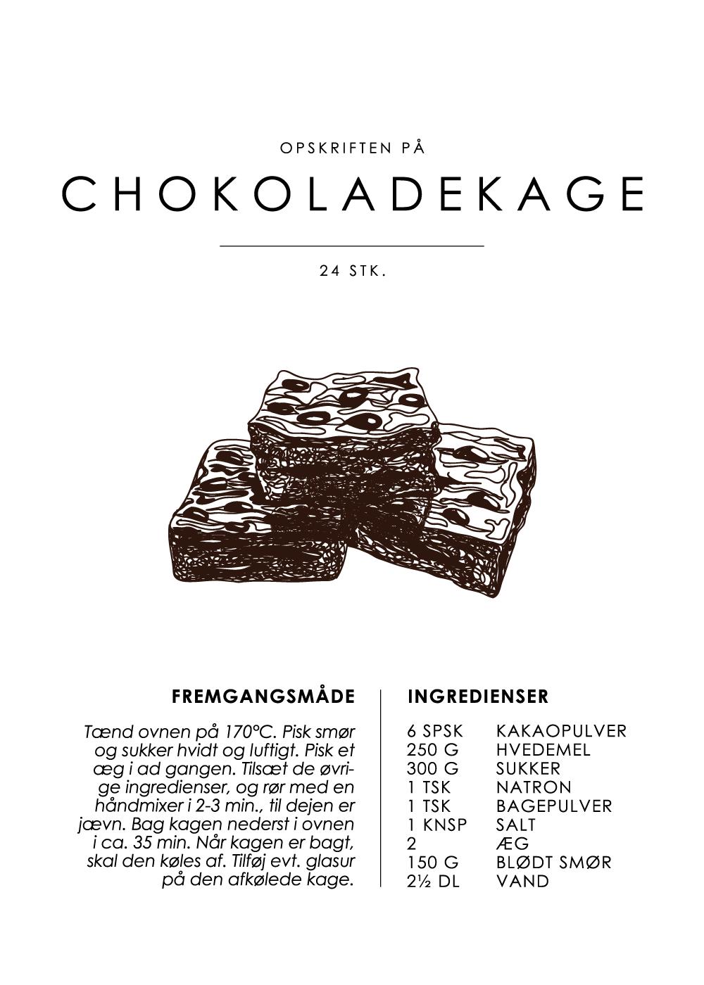 Billede af Chokoladekage opskrift - Kage guide plakat