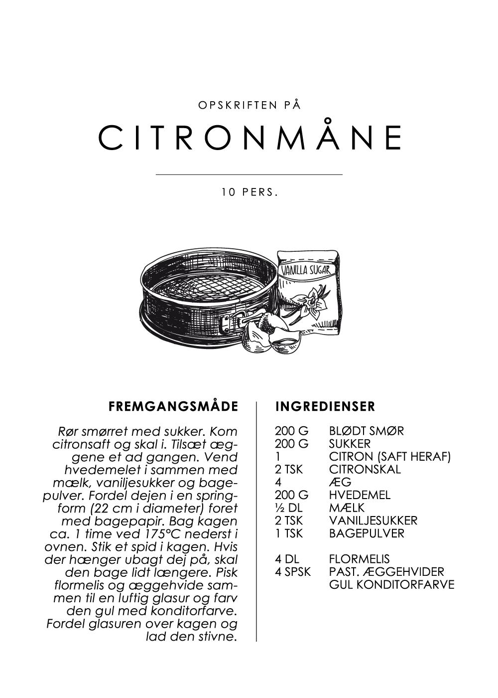 Citronmåne opskrift - Kage guide plakat