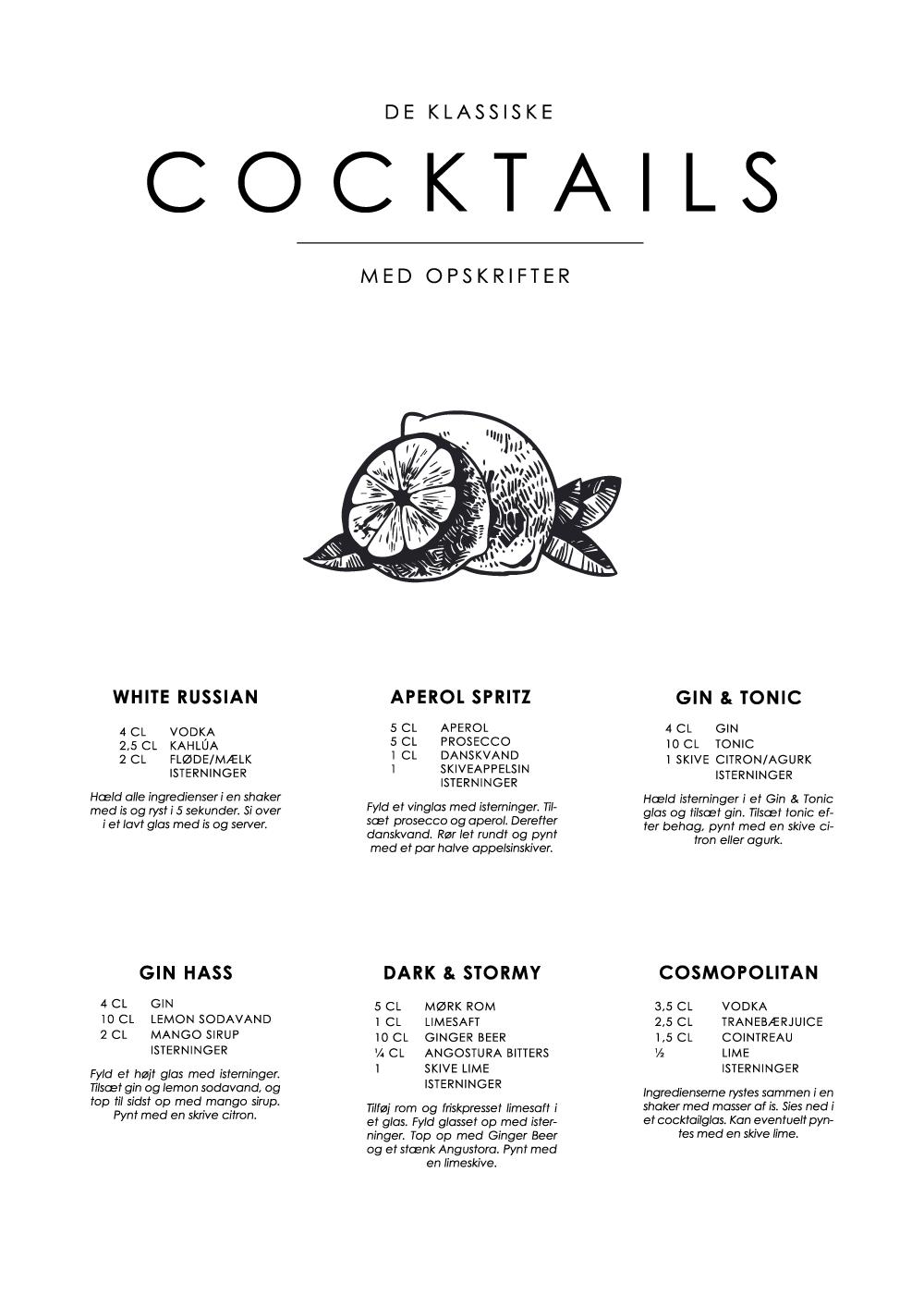 Billede af Cocktails opskrifter plakat - De klassiske nr. 1