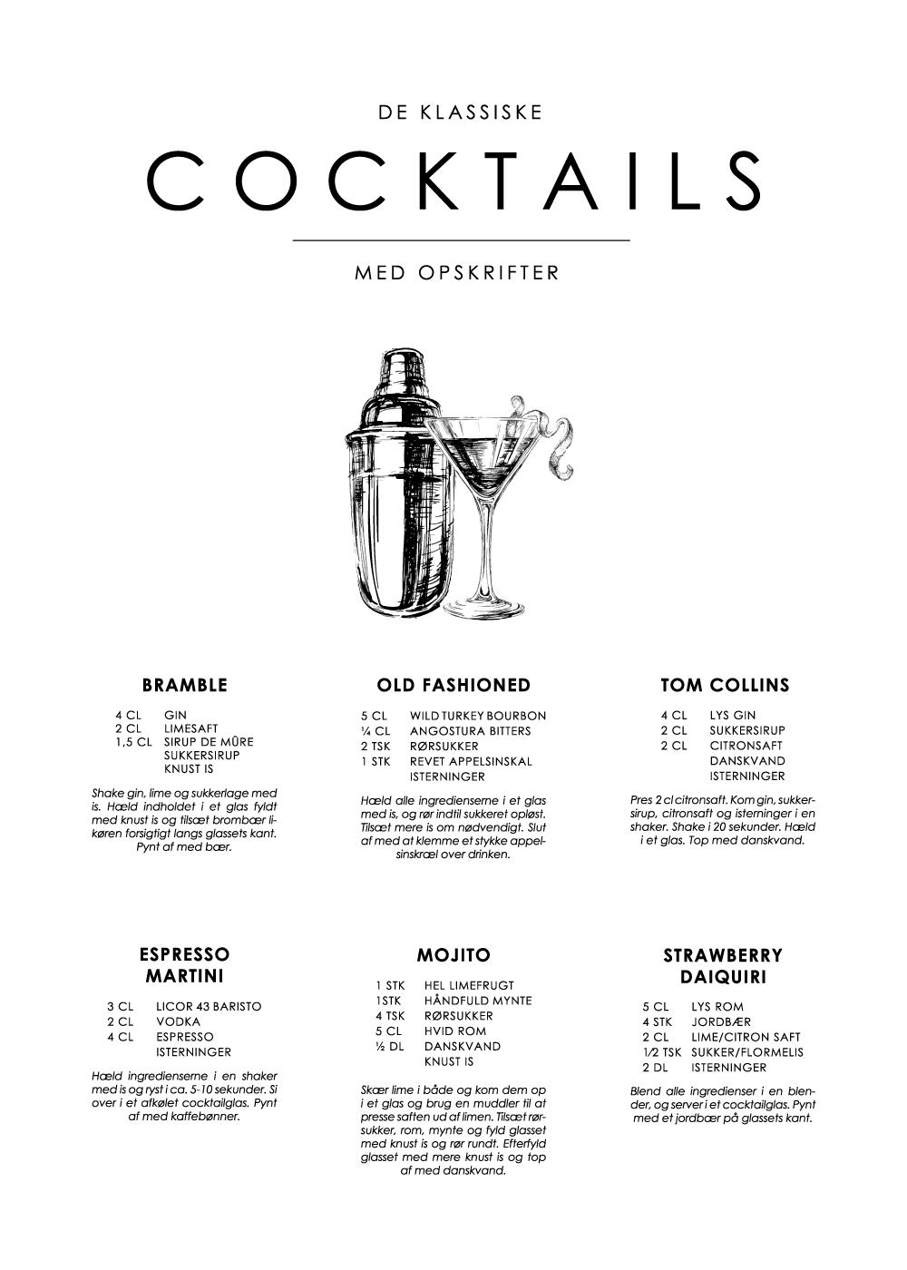 Billede af Cocktails opskrifter plakat - De klassiske nr. 2