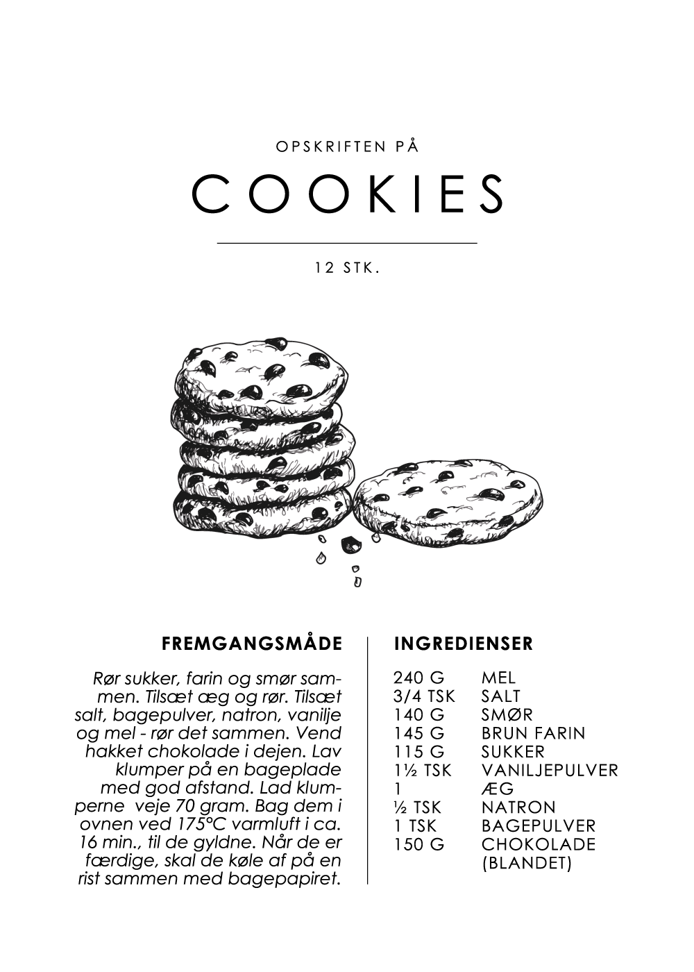 Billede af Cookies opskrift - Kage guide plakat