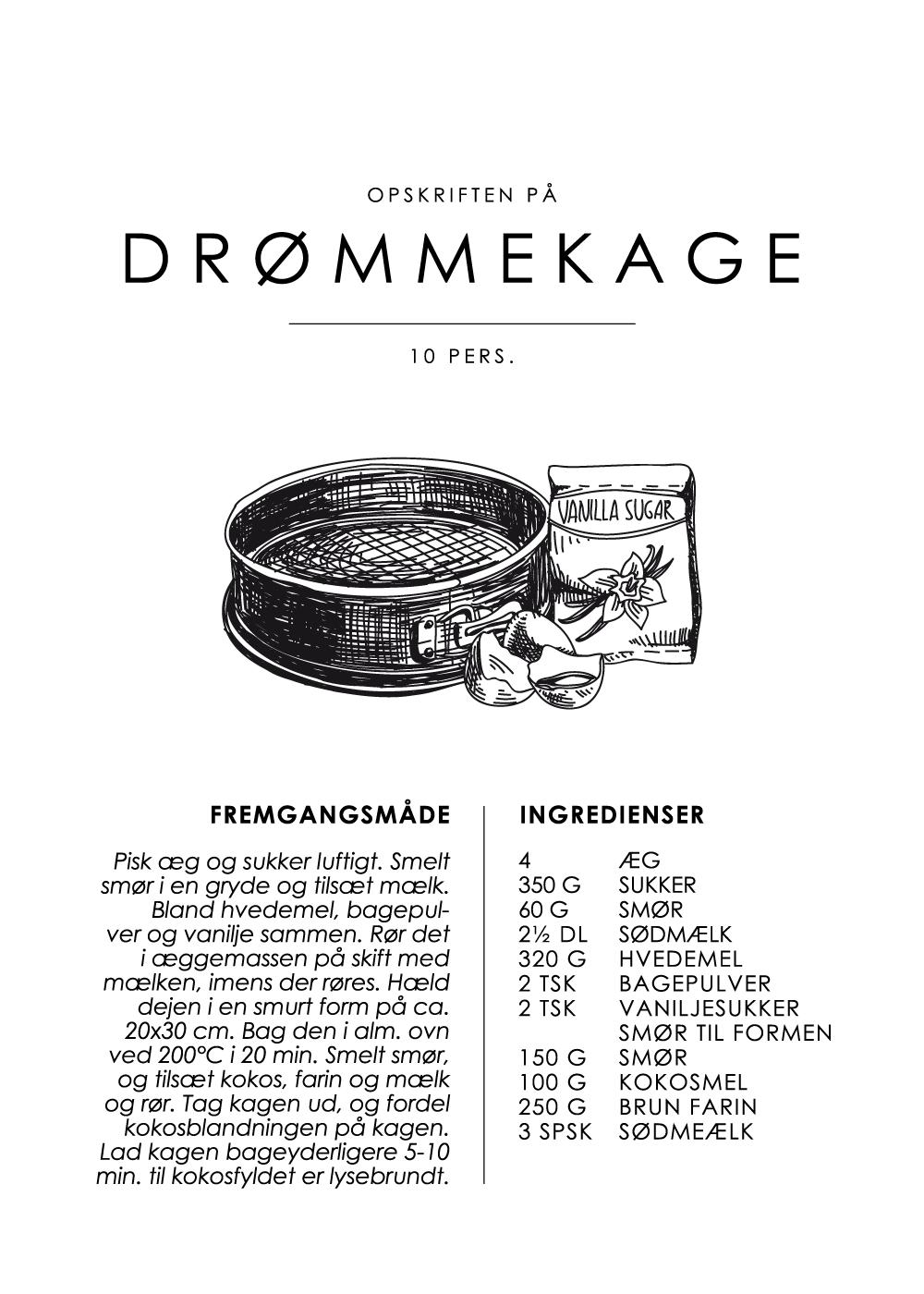 Billede af Drømmekage opskrift - Kage guide plakat