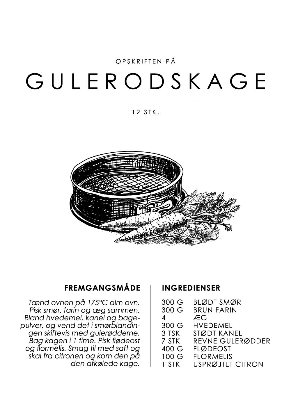 Billede af Gulerodskage opskrift - Kage guide plakat