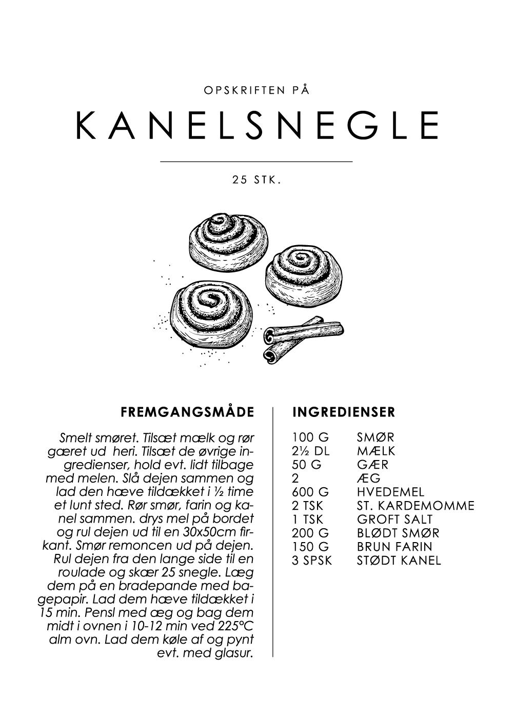 Billede af Kanelsnegle opskrift - Kage guide plakat