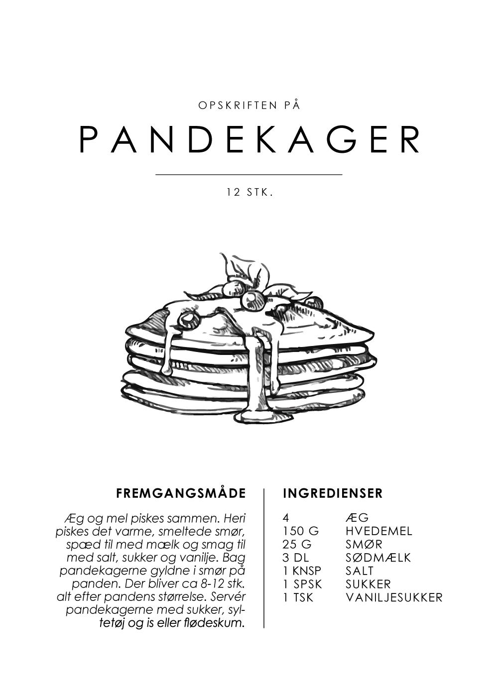 Billede af Pandekager opskrift - Kage guide plakat