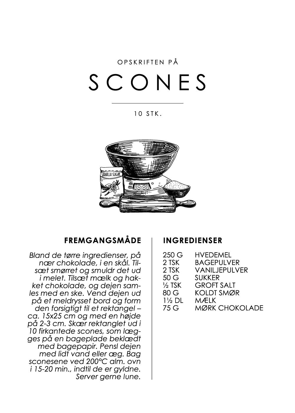 Billede af Scones opskrift - Kage guide plakat