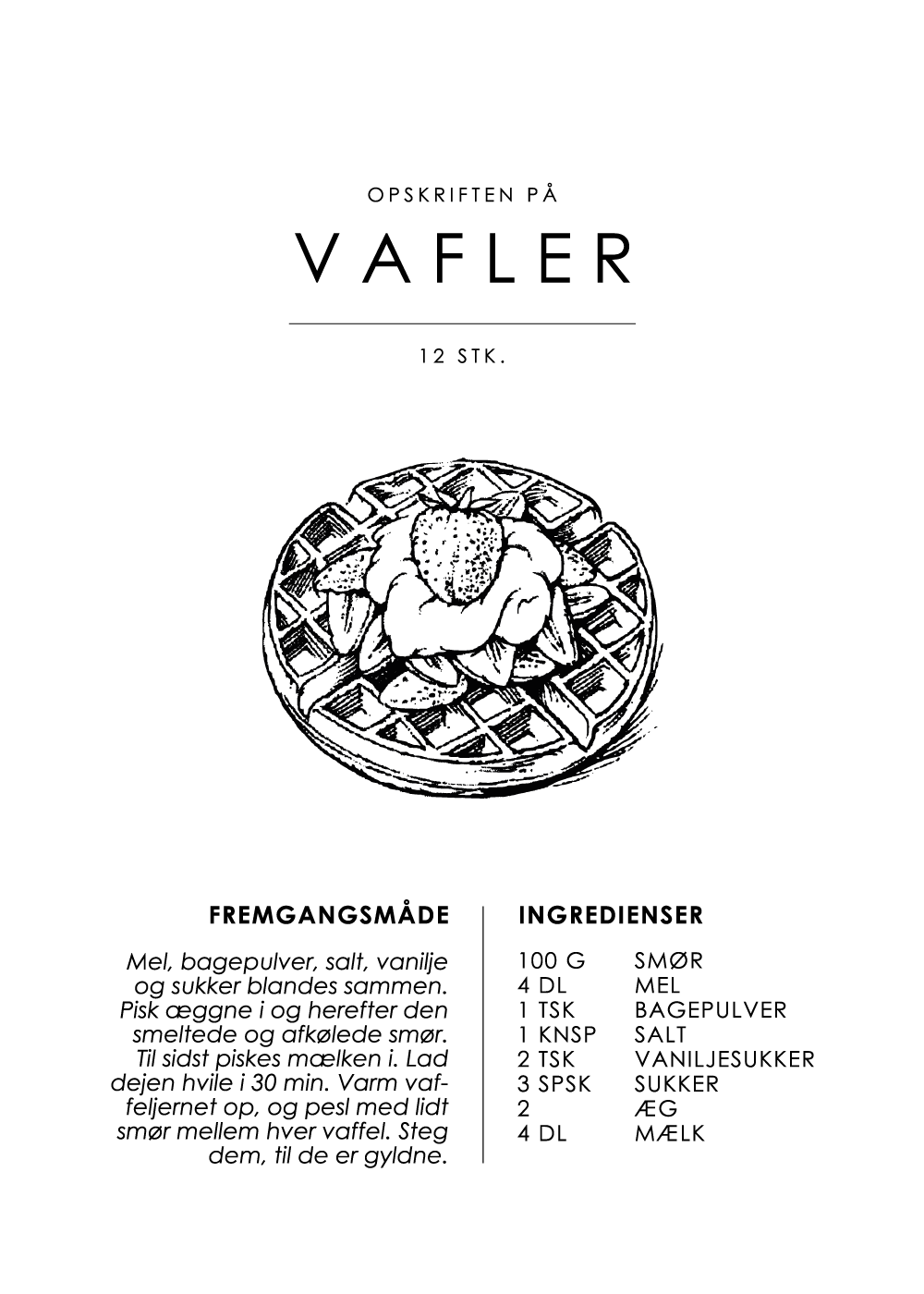 Billede af Vafler opskrift - Kage guide plakat