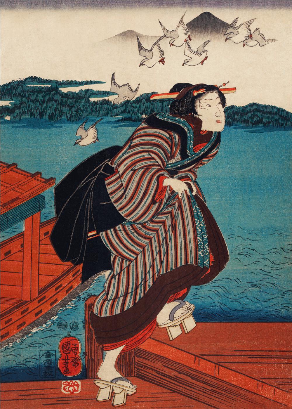 Billede af Running woman - Japansk kunstplakat