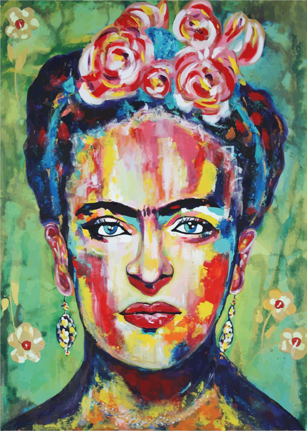 Billede af Frida painting - Frida Kahlo inspireret plakat